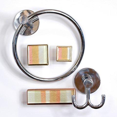 art glass cabinet knobs pulls pastel stripe